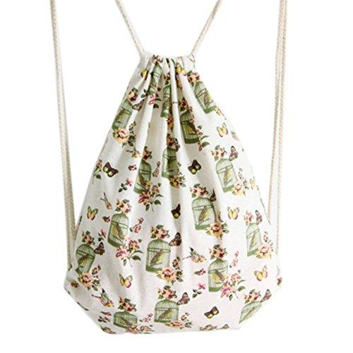 LAAT Leinen Drawstring Tasche Schulbeutel Outdoor Sackpack Shopping Rucksack College Style Vogelkäfig