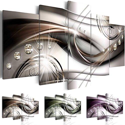 Bilder 200x100 cm - 3 Farben zur Auswahl - XXL Format - Fertig Aufgespannt - TOP - Vlies Leinwand - 5 Teilig - Wand Bild - Kunstdrucke - Wandbild - Abstrakt Diamant a-A-0174-b-n 200x100 cm B&D XXL