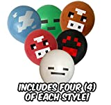 """Pixel Style Mine Crafter Themed Party Balloon Pack (24 count) - Large 12"""" Latex Balloons - Includes Green Zombie Monster, Blue Cloud, Red Cow, Brown Cow, White Ghost, Black Spider"""