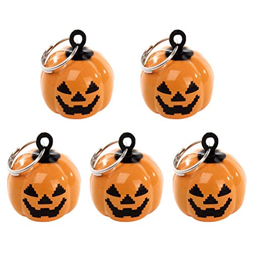 ULTNICE 5pcs Pumpkin Shape Jingle Bells Cartoon Pendant Pet Accessories Halloween Decor ()
