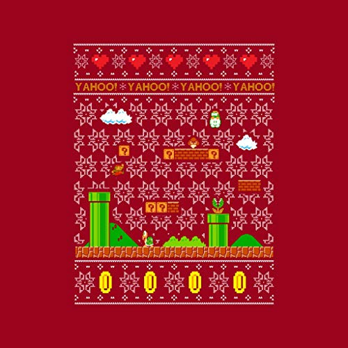 Pattern Sweatshirt Coto7 Christmas Red Knit Women's Platform Cherry Super Mario qwXw0g1