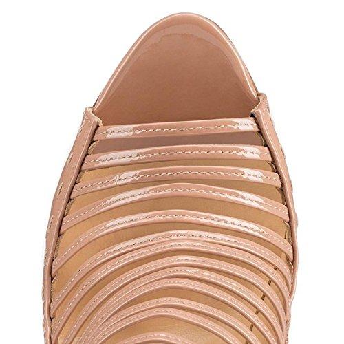Arc-en-Ciel zapatos de las mujeres del tacón alto de la sandalia de gladiador Beige