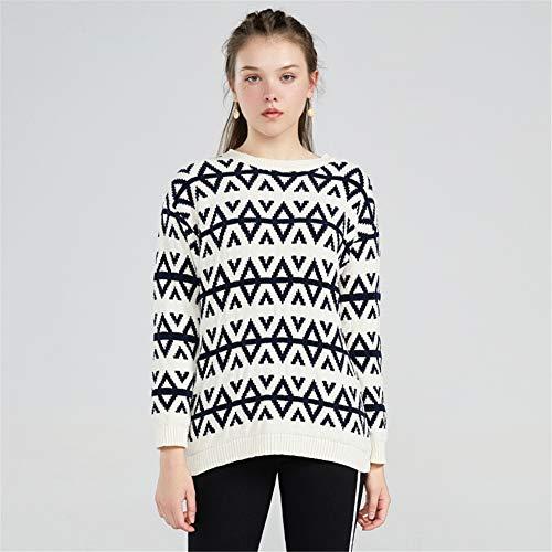 Sweater Ekfhos Rice De White Mujeres Otoño Las Camisa 577qYxXr