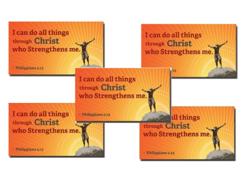 Philippians 4:13 Christian Magnets - Set of 5. Bible Verse,