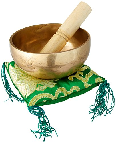 Singing Bowl For Healing Through Vibration Touch Bell Metal Art (Round Weathered Brass Bowl)