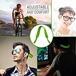 Top Sunglasses Straps | Super Comfy Adjustable Neoprene Sunglass Straps and Glasses Strap | Anti Wear Slip Collision Eyewear Retainer Cord | Securely Retain on Head Neck | Unisex | Green | 335.3