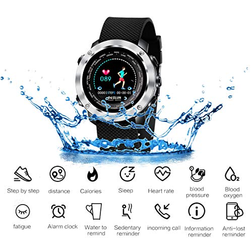 - JASZHAO IP67 Smart Watch, High Clear 3D Dynamic UI Interface/SMS Reminder/Heart Rate Detection/Stopwatch Pedometer/Calorie/GPS Track,A
