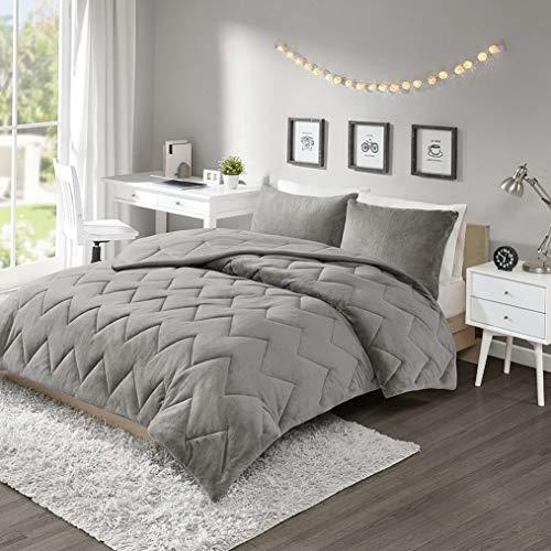 Kaputar Ultra Soft Plush Cozy Comfortable Grey Chevron Stripe Casual Chic Comforter Set | Model CMFRTRSTS - 2059 | Queen