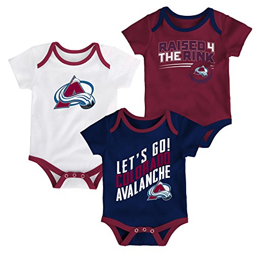 Outerstuff NHL Colorado Avalanche Newborn & Infant Power Play Onesie Set (3 Pack), 18 Months, ()