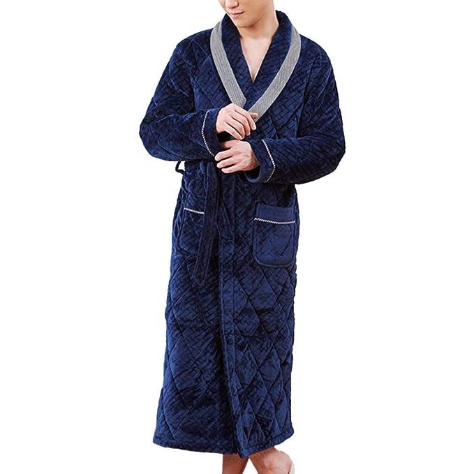 Franela De Los Hombres Bata De Invierno Espesar Camisón Juvenil Albornoz Tamaño Grande Cálido Hogar Loungewear: Amazon.es: Ropa y accesorios