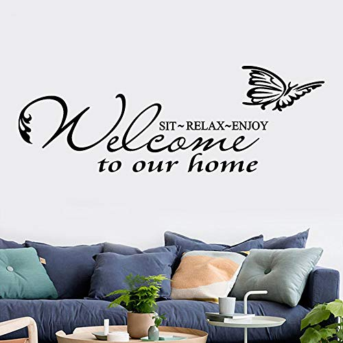 SeedWorld Wall Stickers - Wall Sticker Welcome to Our Home 1PC Wall Decal Living Room Home Decoration Home Decoration Accessories 1 PCs -
