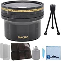 Elite Series 0.14x Xtreme Super High Definition Fisheye Lens - 52mm / 58mm with Deluxe Lens Accessories Kit for Nikon D3000 D3100 D3200 D3300 D5000 D5100 D5200 D5500 D7000 D7100 D7200 D600 D610 D700 D800 D90 DSLR