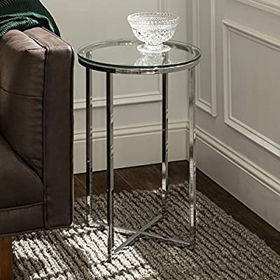 """Walker Edison Furniture Company Modern Round Side End Accent Table Living Room, Glass/Chrome - Dimensions: 24"""" H x 16"""" L x 16"""" W Durable, tempered glass table top for long-lasting construction Pair with matching coffee table for a complete living room set - living-room-furniture, living-room, end-tables - 51g03kzkwgL. SS400  -"""