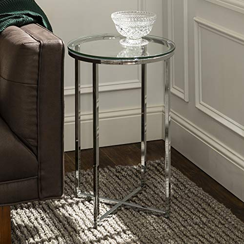 WE Furniture AZF16ALSTGCR Modern Round Side End Accent Table Living Room, Glass/Chrome (Table Side Round Silver)