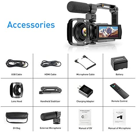 Video Camera Camcorder 4K 48MP Ultra HD YouTube Vlogging Camera IR Night Vision WiFi Digital Camera Recorder 16X Digital Zoom Touch Screen Video Camcorder with Microphone Handheld Stabilizer