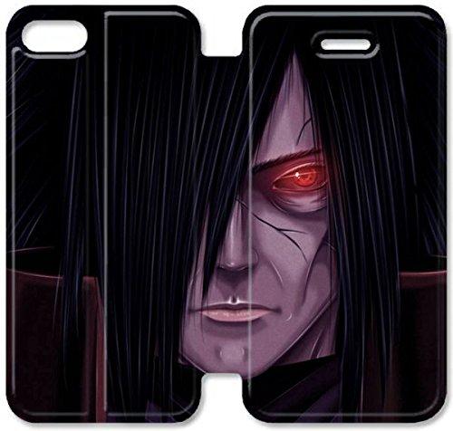 Flip étui en cuir PU Stand pour Coque iPhone 5 5S, bricolage 5 5S Coque Case étui de téléphone cellulaire personnalisé Conception Uchiha Naruto G1P4DX Madara