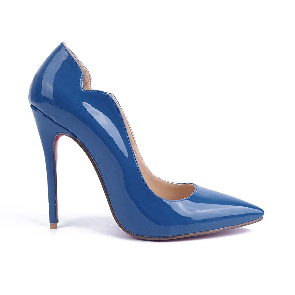Shoemaker'S Heart High Heels Single Shoes Blue Heels Pointed Shoes European And American Fashion Shoes Blue Thirty-Six