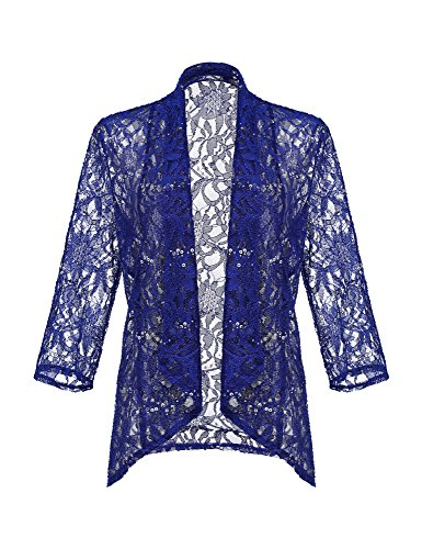 LookbookStore Women's Royal Blue Elegant Cute Sheer Floral Lace Crochet Sequin 3 4 Sleeve Open Front Lightweight See Through Bolero Shrug Cardigan Top For Woman Size M (US (Shrug Sweater Top)