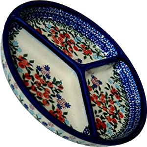 Polish Pottery Ceramika Boleslawiec 0727/282 Royal Blue Patterns Mercedes Divided Platter, 10-3/4-Inch Diameter, Red Berries and Daisies