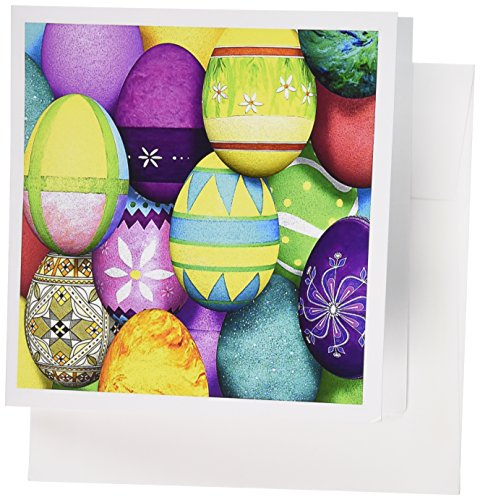 Executive Collection Rose - 3dRose Dyed Easter Eggs Greeting Cards, 6 x 6 Inches, Set of 6 (gc_43241_1)