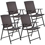 TANGKULA 4 PCS Folding Patio Chair Set Outdoor Pool Lawn Portable Wicker Chair with Armrest & Footrest Durable Rattan Steel Frame Commercial Foldable Stackable Party Wedding Chair Set (24X23X37) For Sale
