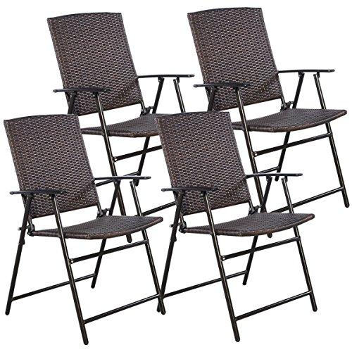 Etonnant Tangkula 4 PCS Brown Folding Rattan Chair Furniture Outdoor Indoor Camping  Garden Pool