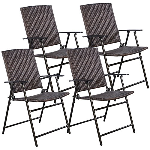 Folding Wicker - TANGKULA 4 PCS Folding Patio Chair Set Outdoor Pool Lawn Portable Wicker Chair with Armrest & Footrest Durable Rattan Steel Frame Commercial Foldable Stackable Party Wedding Chair Set (24X23X37)