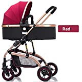Strollers Baby High-Landscape Bidirectional Walking Baby Strollers 3 in 1 Pram Travel Buggies Foldable Height-Adjustable Buggy Child Pushchairs (Color : Red, Size : 34.6425.7841.53inchs)
