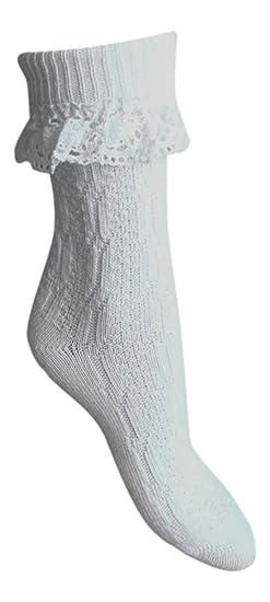 Marca de calidad 1 par de Calcetines Medias Tracht Traje Tradicional sobre ocke con häkelsp itzen blanco: Amazon.es: Ropa y accesorios