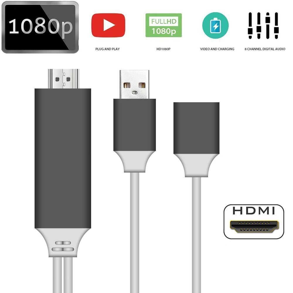 Phone to HDMI Cable, bossblue Lightning Digital AV Adapter for iPhone Samsung iPad Android Smartphones to Mirror on HDTV Projector- 3.3 ft (white)