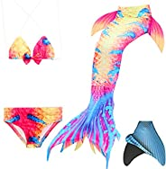 loenzo otiz Girl mermaid tail for swimming and fins set 4PC Multicolor M150