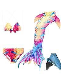 loenzo otiz Girl mermaid tail for swimming and fins set 4PC