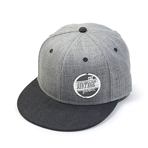 Vintage Year Premium Heather Wool Blend Flat Bill Adjustable Snapback Hats Baseball Caps (Various Colors) (Heather Black/Heather Gray)