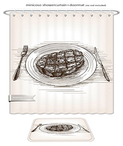 ece Suit: Shower Curtains and Bath Rugs Steak Sketch Style Raster Illustration Old Hand Drawn Engraving Imitation Vegetable Food Shower Curtain and Doormat Set ()