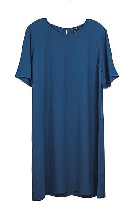 f00373b81fcbe Eileen Fisher Crinkle Crepe Round Neck Short Sleeves Shift Dress in Nile