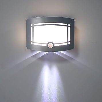 Sensor de movimiento OurLeeme activado LED lámpara de pared con pilas nocturna inalámbrica de luz automático de encendido/apagado para el Pasillo Camino Escalera pared WarmWhite: Amazon.es: Bricolaje y herramientas