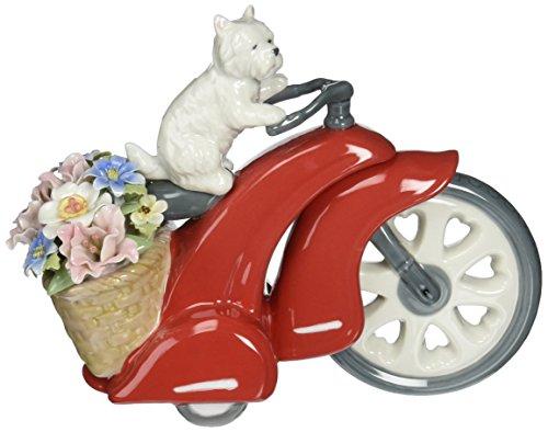 Cosmos 80075 Fine Porcelain Dog on Bike Musical Figurine, 8-Inch