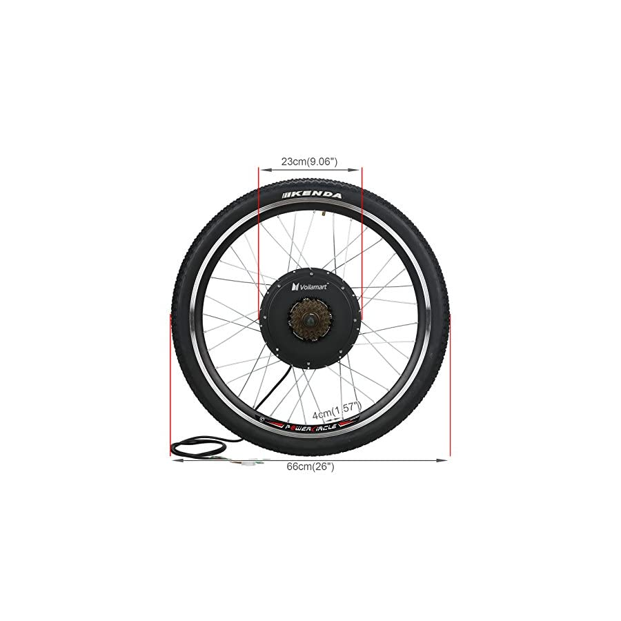 """Voilamart 26"""" Rear Wheel Electric Bicycle Conversion Kit, 48V 1500W E Bike Powerful Hub Motor Kit with Intelligent Controller and PAS System, Restricted to 750W for Road Bike"""