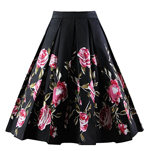 Girstunm Women's Pleated Vintage Skirt Floral Print A-Line Midi Skirts with Pockets Black-Pink Rose (Pretty Floral Skirt)