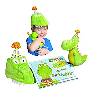 Dinosaur Birthday Gift for Boys - Dino-Mite It's Your Birthday! Gift Set includes Book, Dinosaur Plush, and Child's Dinosaur Hat. Great Keepsake Gift for Boys Birthdays 1, 2, 3, 4, 5, 6, 7