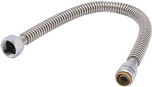 "SharkBite SS3088FLEX12LF Corrugated Stainless Steel Hose, 3/4"" x 3/4"" x 12"", Silver"