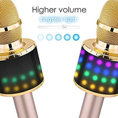 BONAOK Wireless Bluetooth Karaoke Microphone with Controllable LED Lights, Portable Handheld Karaoke Speaker Machine Christmas Birthday Home Party for Android/iPhone/PC or All Smartphone(Q78 Gold): Musical Instruments