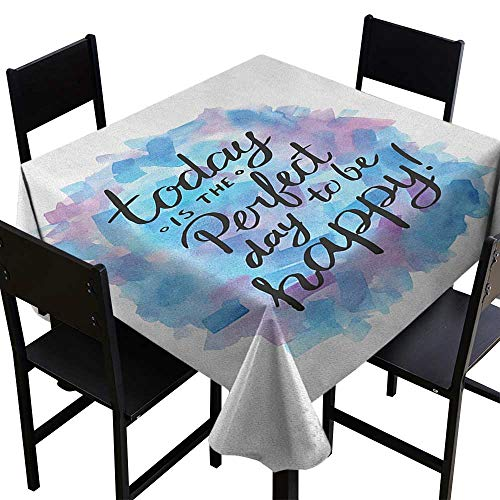 SKDSArts Decor Collection Table ClothsMotivational,Hand Drawn Paint Brush Effect Happiness Quote Abstract Composition, Dried Rose Blue Black,W70 x L70 Patterned Tablecloth ()
