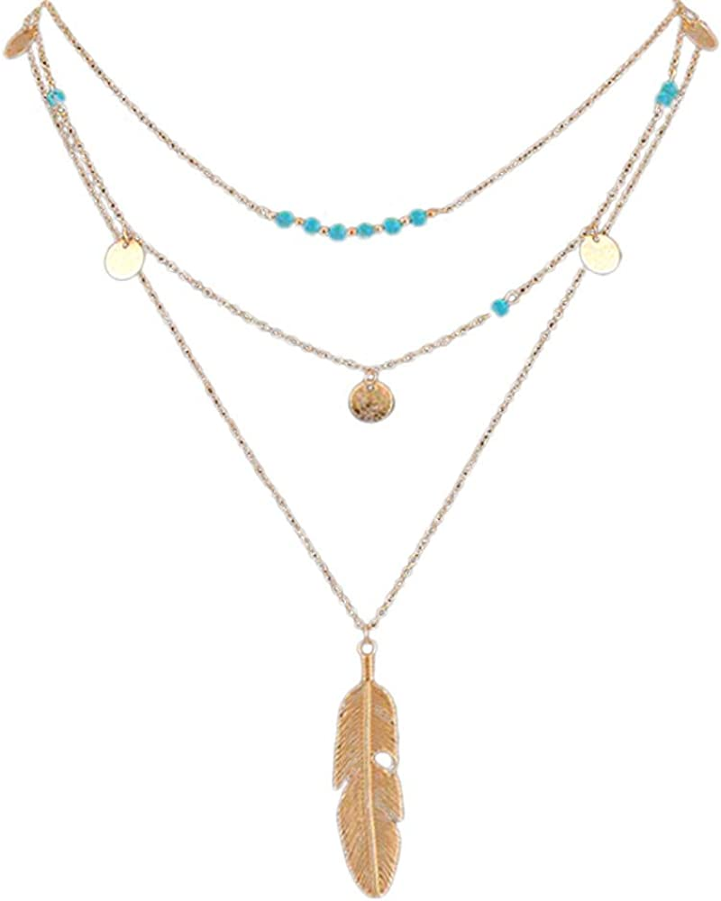 Amazon Com Letdown Rings Hot Fashion Gold Color Multilayer Coin Tassels Lariat Bar Necklaces Beaded Choker Feather Pendants Necklaces For Women Valentine S Festival Gifts For Boyfriend Girlfriend Us Size Clothing