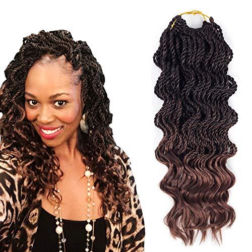 VRHOT 6Packs 18'' Wavy Jumbo Senegalese Twist Crochet Braids Hair Free Ends Synthetic Brown Hair Extensions Ombre Braiding Hair Dreadlocks 1B 30 18 inch (18'' (6packs/lot), T1B/30#)