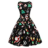 Women Dress Christmas Daoroka Women's Christmas Gifts Fit and Flare Cocktail Vintage Ball Gown Dress Sleeveless Pin Up Swing Lace Santa Claus Print Party Dress For Christmas/New Year (S, Black3)