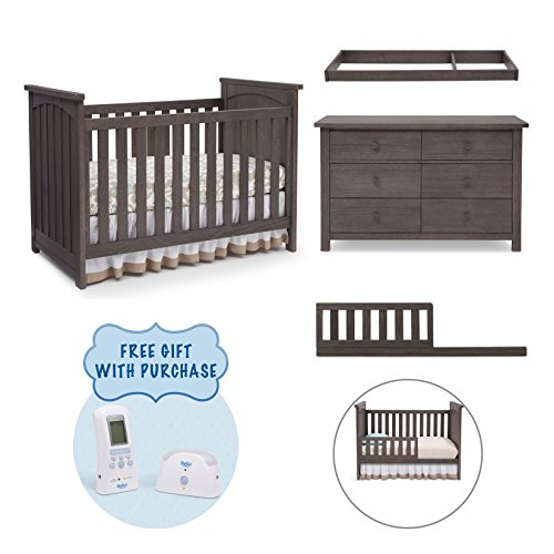 Serta North 4-Piece Nursery Furniture Set including FREE Baby Digital Monitor (ships separately) Crib, 6 drawer Dresser, Changing Top and Toddler Converting Guardrail/Daybed Rail, Rustic Grey