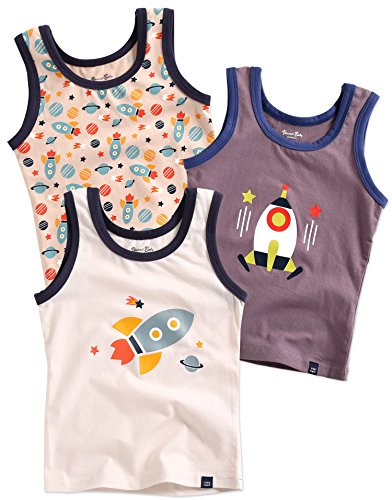 Baby Undershirt Cotton (Vaenait baby Kids Boys Cotton Undershirts Tank Tops Rocket Shot M)