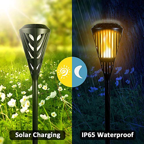 - KINDEEP Solar Torch Lights Waterproof Flickering Flames Torches Lights Upgraded Outdoor Spotlights Landscape Decoration Lighting Dusk to Dawn Auto On/Off Security Torch Light for Patio Driveway-2Packs