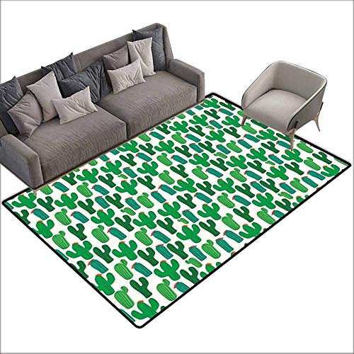 Door Mat Living Room Non-Slip Exotic,Vibrant San Pedro Cactus Foliage Climate Desert Flourishing Mexican Plants,Forest Green Red 60